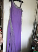 BNWT ELEGANT LILAC CHIFFON BEADED DIAMANTE DRESS & MATCHING SHAWL YVE LONDON M